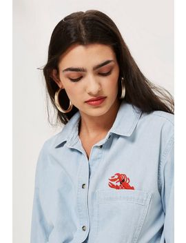 Oversized Embroidered Denim Shirt by Topshop
