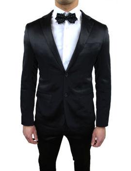 Men's Suit Tailored Satin Shiny Black Slim ÉlÉgant Dress Set Smoking by Ebay Seller