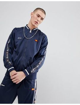 Ellesse Jacket With Sleeve Taping In Navy by Ellesse