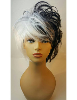 Cruella Deville, Black And While Two Tone Wig, Black And White Halloween Wig by Etsy