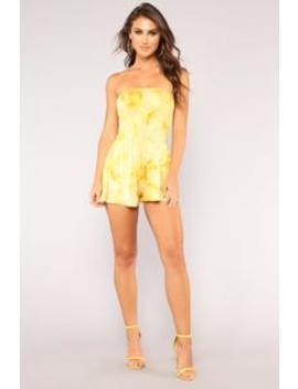 Talia Tie Dye Romper   Mustard by Fashion Nova