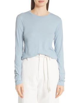 Long Sleeve Pima Stretch Cotton Crewneck Top by Vince