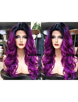 Purple Lace Front Wig // Ombre Pastel Dark Roots // Curly Heat Safe // Long Cosplay Wig // Skin Part // #At32 by Etsy