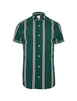 Dark Green Stripe Slim Fit Shirt by River Island