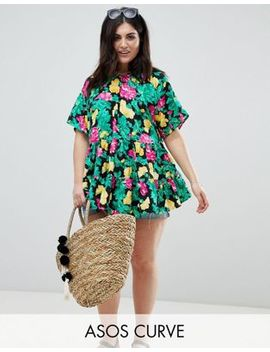 Asos Design Curve Smock Top In Bright Floral Print by Asos Design
