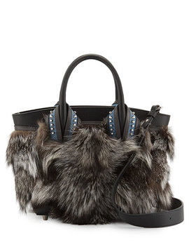 Eloise Glitter Trimmed Fox Fur Tote Bag, Gray Pattern by Christian Louboutin