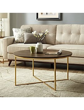 We Furniture Azf36 Alctdwg Wood Coffee Table, Dark Walnut/Gold by We Furniture