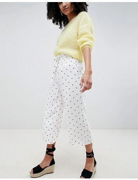 Lost Ink Wide Leg Trousers With Corset Waist In Spot Print by Lost Ink.