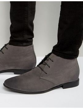Asos Design Lace Up Boots In Grey Faux Suede by Asos