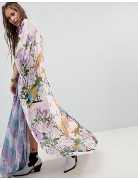 Aratta Maxi Kimono With Birds Of Paradise Print In Silk by Aratta