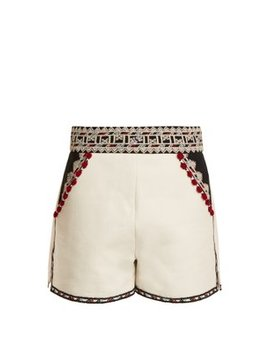 Embroidered High Rise Cotton Twill Shorts by Talitha