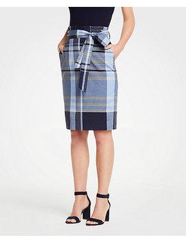 Madras Tie Waist Pencil Skirt by Ann Taylor