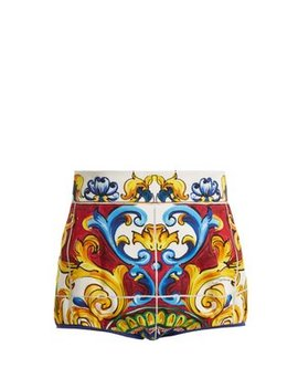 Majolica Print High Waist Shorts by Dolce & Gabbana