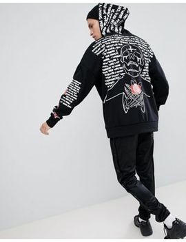 Sixth June Hoodie In Black With Back & Sleeve Print by Sixth June