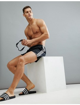 Adidas Swim Shorts With Stripes In Black Cv5137 by Adidas