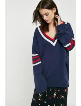 Uo   Pull Style Université à Rayures Bleu Marine by Urban Outfitters