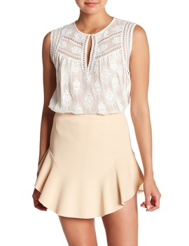 Selina Embroidered Silk Tank Top by Rebecca Taylor