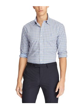 Slim Fit Windowpane Plaid Poplin Long Sleeve Woven Shirt by Polo Ralph Lauren