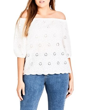 Sweet Gem Eyelet Off The Shoulder Top by City Chic