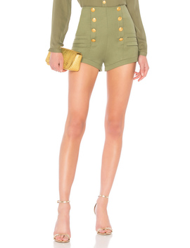 High Waist Military Short by Pierre Balmain