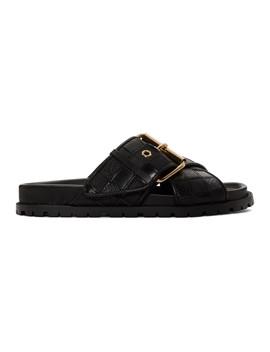 Black Patchwork Straps Sandals by Sacai