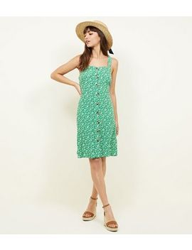 Tall Green Ditsy Floral Pinafore Dress by New Look
