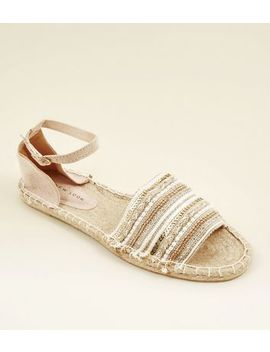 Nude Sequin Embellished Espadrille Sandals by New Look