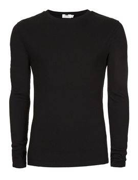 Black Ribbed Muscle Fit Long Sleeve T Shirt by Topman
