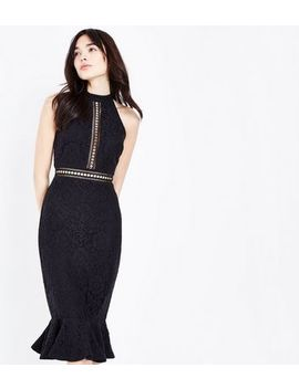 Black Ladder Lace Peplum Hem Midi Dress by New Look