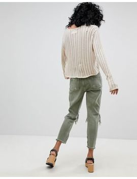 One Teaspoon Freebirds Highwaisted Skinny Jean With Exposed Knees And Raw Hem by One Teaspoon
