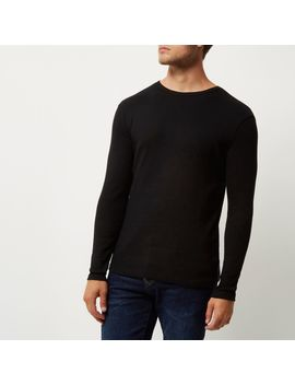 Black Ribbed Slim Fit Long Sleeve T Shirt                                  Black Ribbed Slim Fit Long Sleeve T Shirt by River Island
