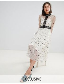 Lace & Beads Polka Dot Midi Dress With Lace Inserts by Lace & Beads