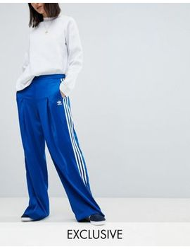 Adidas Originals Fashion League Wide Leg Track Pants In Bright Blue by Adidas