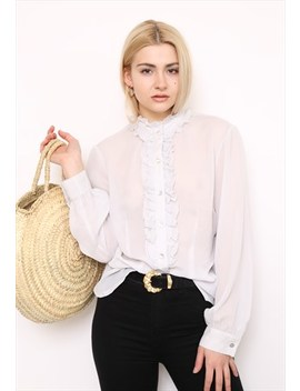 Vintage 90s Off White Ruffle Shirt by Vintage Inclined