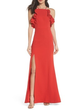 Ruffle Halter Gown by C/Meo Collective