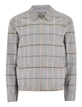 Gray Checked Harrington Jacket by Topman