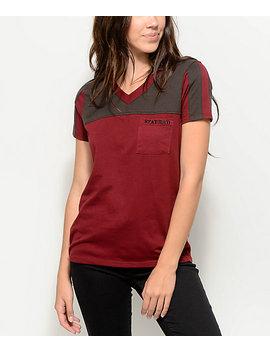 Empyre Durelle Stay Rad Burgundy V Neck T Shirt by Empyre
