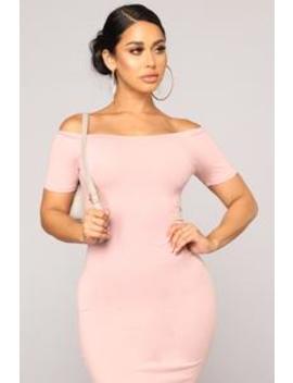 Julia Off Shoulder Dress   Rose by Fashion Nova