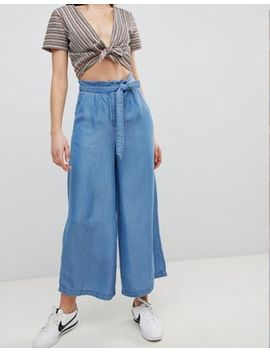 Pimkie Chambray Wide Leg Cropped Trousers by Pimkie