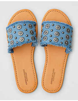 Aeo Denim Studded Flat Sandal by American Eagle Outfitters