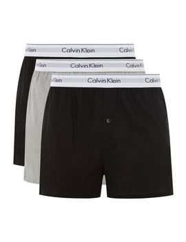 Calvin Klein's Black And Grey Woven Trunks 2 Pack* by Topman