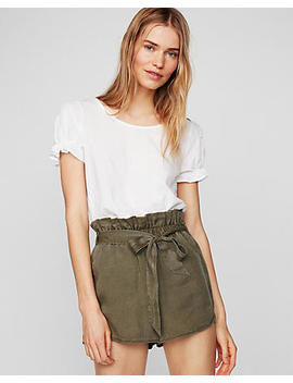 High Waisted Silky Soft Twill Tie Front Utility Shorts by Express