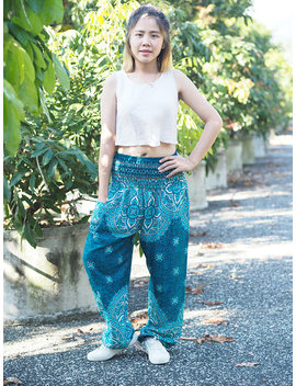 Bohemian Pants /Harem Pants /Music Festival Clothing/Hippie Pants/Yoga Pants  /Music Festival Clothing Turquoise Pp0004 by Etsy