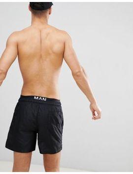 Boohoo Man Swim Shorts With Man Print Waistband In Black by Boohoo Man