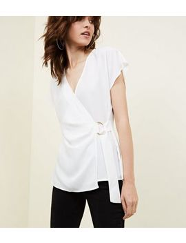 Off White D Ring Wrap Blouse by New Look