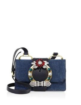 Lady Crystal Buckle Denim Shoulder Bag by Miu Miu