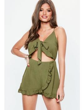 khaki-tie-front-frill-wrap-romper by missguided