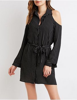 Striped Button Up Cold Shoulder Shirt Dress by Charlotte Russe