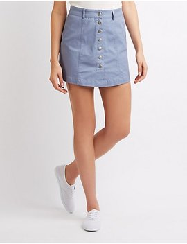 Button Up Mini Skirt by Charlotte Russe