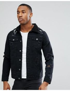 Liquor N Poker Black Wash Rip & Repair Borg Denim Jacket by Liquor N Poker